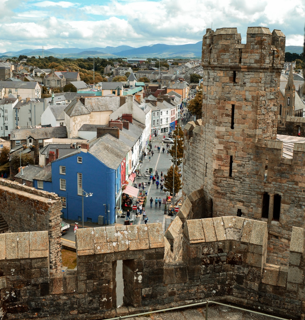 Caernarfon castle and town centre