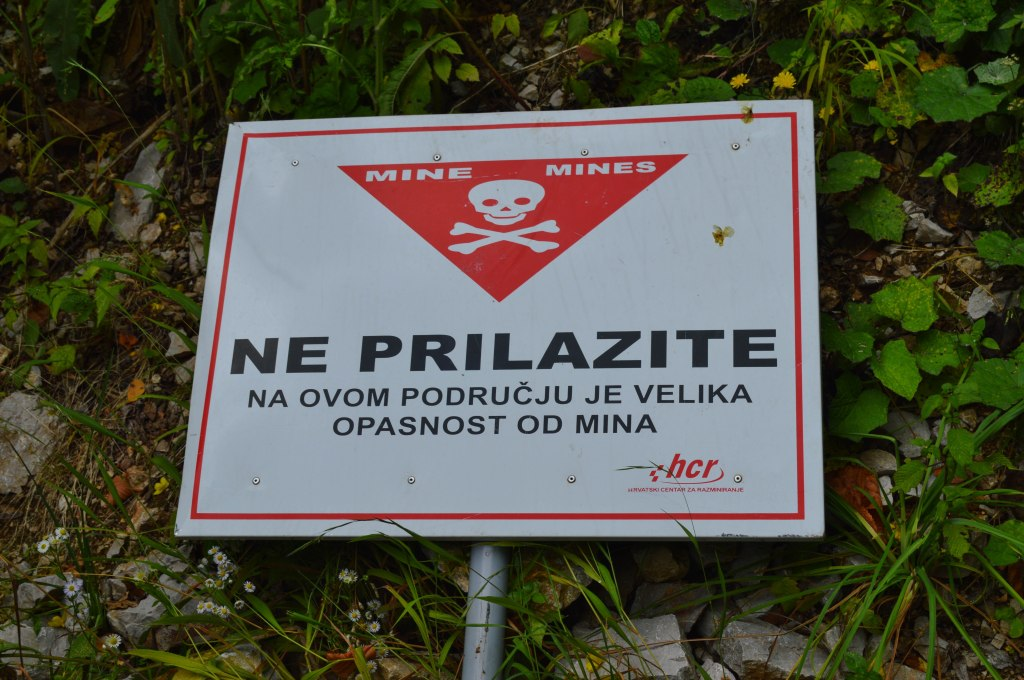 Mine warnings at the Željava airbase, Croatia.